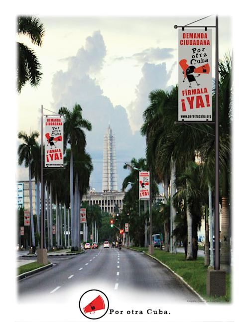 "This image provided by ""For Another Cuba"" shows a poster created by artist Rolando Pulido that was on display Saturday, May 4, 2013, in Miami as part of the ""For Another Cuba"" campaign. The works are part of an exhibit held in Miami by State of SATS, an activist group attempting to foster civil society and stimulate discussion about Cuba's future. (AP Photo/For Another Cuba)"