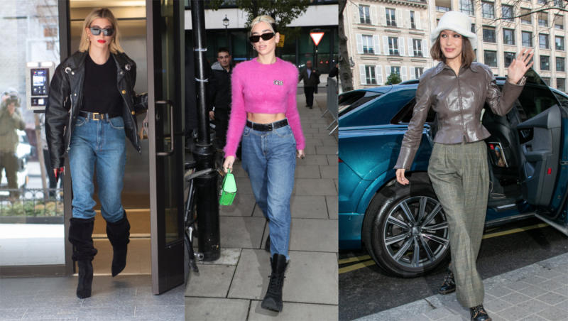 Looks I would never think to put together. (From left: Hailey Bieber, Dua Lipa and Bella Hadid. Images via Getty Images).