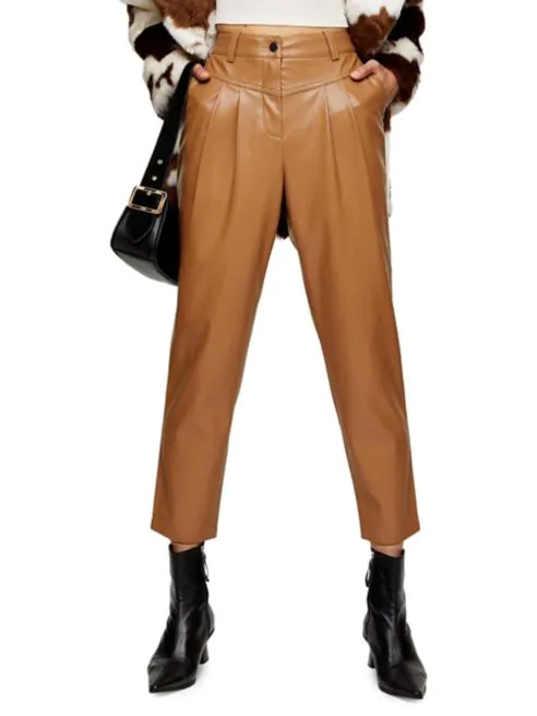 TOPSHOP 80s Faux Leather Peg Trousers
