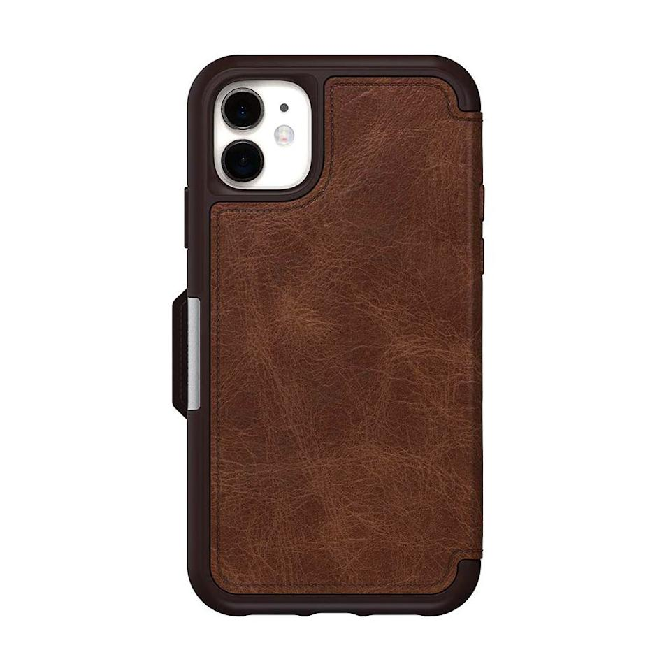 """<p><strong>OtterBox</strong></p><p>amazon.com</p><p><strong>$62.96</strong></p><p><a href=""""https://www.amazon.com/dp/B07W7F4WWM?tag=syn-yahoo-20&ascsubtag=%5Bartid%7C2089.g.34239500%5Bsrc%7Cyahoo-us"""" target=""""_blank"""">Shop Now</a></p><p>Not only will this genuine leather case's book-style folio protect his screen from scratches and scrapes, but it'll also eliminate the need for him to carry a wallet since it features a built-in vertical card slot inside. </p><p>A magnetic latch will keep the folio securely in place when closed, while the case's proven OtterBox-quality drop protection is perfect for particularly clumsy recipients.</p><p><strong>More: </strong><a href=""""https://www.bestproducts.com/lifestyle/g2077/best-christmas-gifts-ideas-for-men/"""" target=""""_blank"""">Top Gifts for Men to Treat Every Great Guy in Your Life</a><strong></strong></p>"""