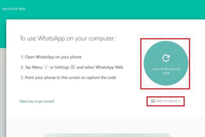 WhatsApp Scan QR code screenshot
