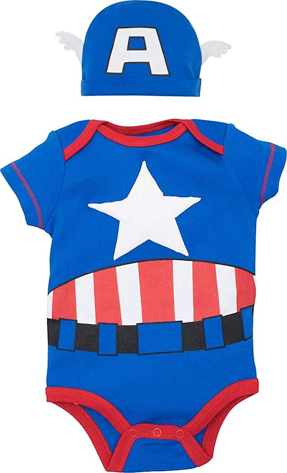 """<p>Help them save the day in this <a href=""""https://www.popsugar.com/buy/Hulk-Spiderman-Thor-Captain-America-472794?p_name=Hulk%20Spiderman%20Thor%20Captain%20America&retailer=amazon.com&pid=472794&price=16&evar1=moms%3Aus&evar9=19130532&evar98=https%3A%2F%2Fwww.popsugar.com%2Ffamily%2Fphoto-gallery%2F19130532%2Fimage%2F46423985%2FHulk-Spiderman-Thor-Captain-America&list1=halloween%2Challoween%20costumes%2Ckid%20shopping%2Challoween%20for%20kids%2Ckid%20halloween%20costumes%2Challoween%20costumes%202018&prop13=api&pdata=1"""" rel=""""nofollow"""" data-shoppable-link=""""1"""" target=""""_blank"""" class=""""ga-track"""" data-ga-category=""""Related"""" data-ga-label=""""https://www.amazon.com/Marvel-Captain-America-Costume-Bodysuit/dp/B07Q2D475J/ref=sr_1_3?crid=2S735HQLA4J6V&amp;keywords=baby+costume&amp;qid=1564092767&amp;s=baby-products&amp;sprefix=costume%2Cbaby-products%2C195&amp;sr=1-3"""" data-ga-action=""""In-Line Links"""">Hulk Spiderman Thor Captain America</a> ($16-$19) costume.</p>"""
