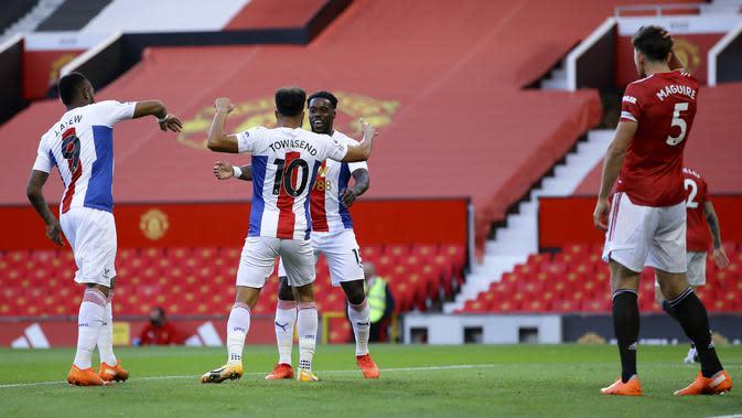 Selebrasi pemain Palace saat kalahkan MU di Liga Inggris (AP)
