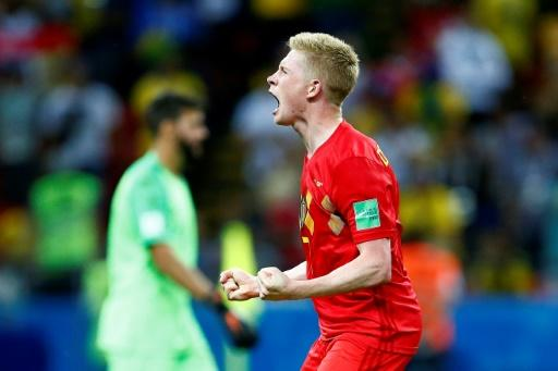 Breakthrough: Kevin De Bruyne's first goal of the 2018 World Cup saw Belgium beat Brazil