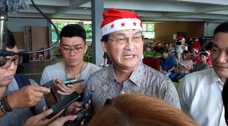Works Minister Baru Bian says he has instructed a thorough investigation be carried out on the collapse of the bridge under construction, December 14, 2019. — Picture by Sulok Tawie
