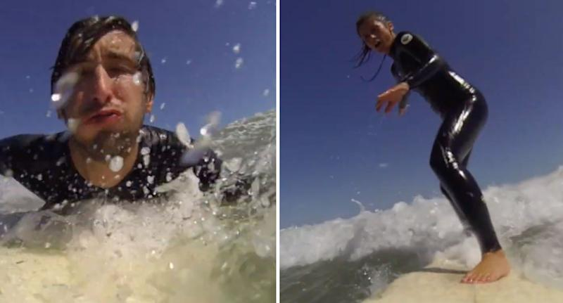 Footage stills showing Jay and Marie surfing at Ocean Grove in Victoria before losing their GoPro.