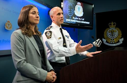 """Vancouver Police Acting Chief Doug LePard, right, and British Columbia Chief Coroner Lisa Lapointe announce the death of Canadian actor Cory Monteith during a news conference in Vancouver, British Columbia, late Saturday July 13, 2013. Vancouver police say Canadian born actor Montieth, star of the hit show """"Glee"""" has been found dead in city hotel. (AP Photo/The Canadian Press, Darryl Dyck)"""
