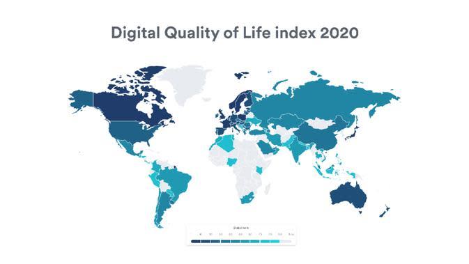 Peta Kualitas Digital Quality of Life 2020. Kredit: Surfshark