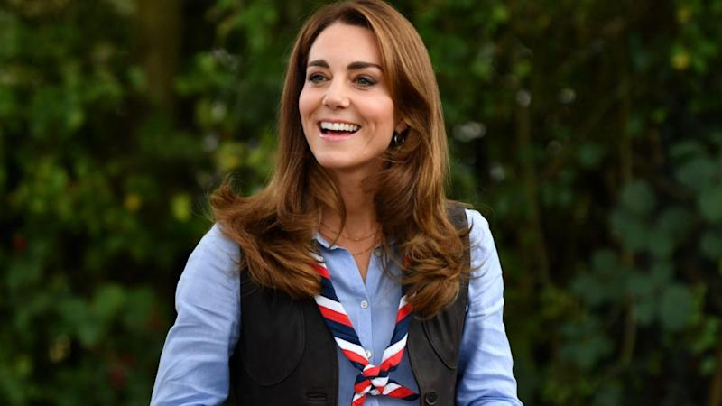 Kate Middleton looked outdoorsy-chic for a visit to a west London scouts group. Image via Getty Images.