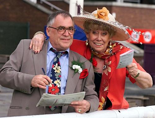 "File photo dated July 1999 of Liz Dawn and Bill Tarmey, who played Jack and Vera Duckworth for many years, on long running British soap opera ""Coronation Street,"" Tarmey died Friday Nov. 9, 2012, a spokeswoman for the show said. Tarmey was a former laborer and nightclub singer who first appeared on ""Coronation Street"" in 1977 as an extra. He was made a regular two years later and stayed until 2010. (AP Photo/ Phil Noble/PA file ) UNITED KINGDOM OUT - NO SALES - NO ARCHIVES"