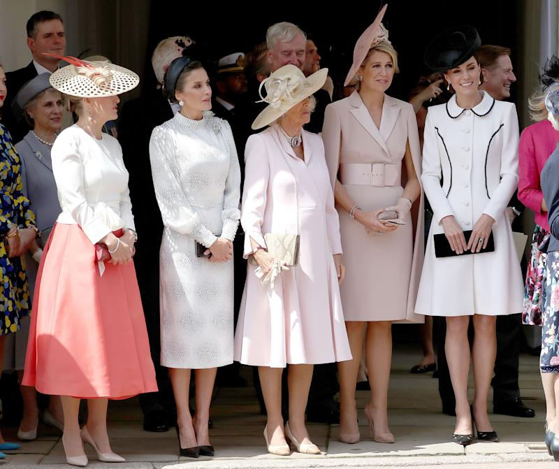 (left to right) Sophie Countess of Wessex, Queen Letizia of Spain, the Duchess of Cornwall, Queen Maxima of the Netherlands and the Duchess of Cambridge, stand together as they watch the annual Order of the Garter Service at St George's Chapel, Windsor Castle.