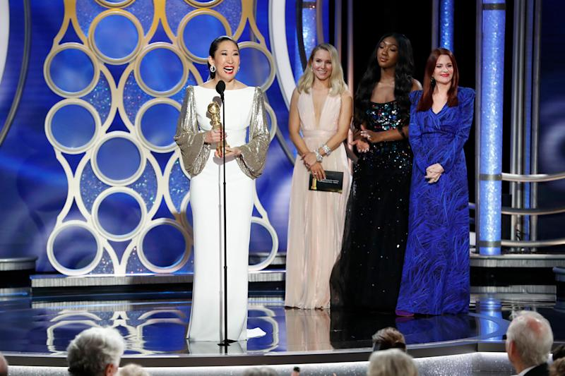 Sandra Oh accepts the Best Performance by an Actress in a Television Series Drama award during the 76th Annual Golden Globe Awards on Jan. 6, 2019. | Paul Drinkwater—NBCUniversal/Getty Images