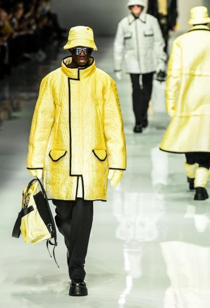 More futurist silhouettes were shown by Fendi. Milan, January 13, 2020