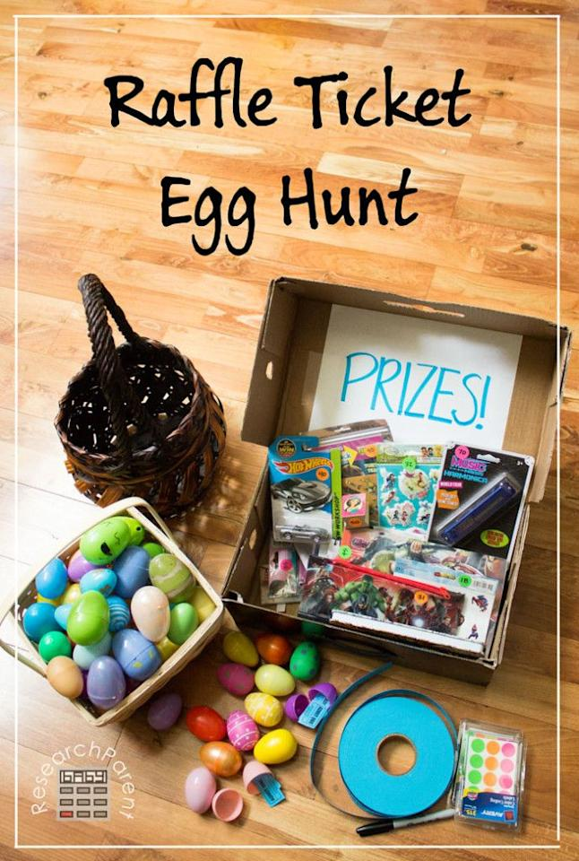 """<p>Use the same rules of this raffle ticket Easter egg hunt, but swap the prize ideas for ones adults will enjoy such as gift cards, books, or kitchen gadgets.</p><p><strong>Get the tutorial at <a href=""""https://researchparent.com/raffle-ticket-egg-hunt/"""" target=""""_blank"""">Research Parent</a>.</strong></p><p><strong><a class=""""body-btn-link"""" href=""""https://www.amazon.com/Blue-Double-Raffle-Ticket-Roll/dp/B005OMVJ2W/?tag=syn-yahoo-20&ascsubtag=%5Bartid%7C10050.g.16593389%5Bsrc%7Cyahoo-us"""" target=""""_blank"""">SHOP RAFFLE TICKETS</a><br></strong></p>"""
