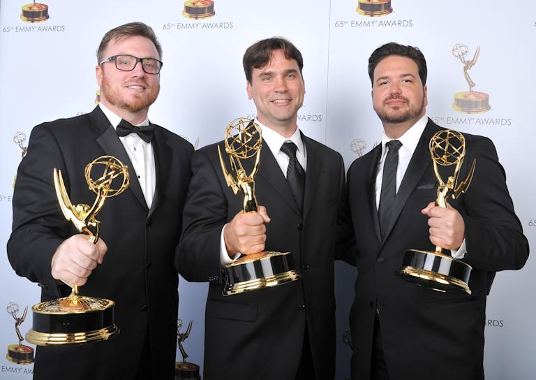 From left, Josh Earl, Rob Butler, and Alex Durham pose for a portrait at the 2013 Primetime Creative Arts Emmy Awards, on Sunday, September 15, 2013 at Nokia Theatre L.A. Live, in Los Angeles, Calif. (Photo by Vince Bucci/Invision for Academy of Television Arts & Sciences/AP Images)