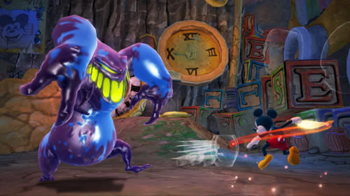 "FILE - This undated publicity file photo provided by Disney shows Mickey Mouse using a paintbrush to fight a monster in ""Epic Mickey 2: The Power of Two,"" (Disney, for the Xbox 360, PlayStation 3, $59.99; Wii U, $54.99; Wii, $49.99). The interactive arm of the Walt Disney Co. announced Tuesday, Jan. 29, 2013, that it is closing Junction Point Studios. The Austin, Texas-based video game developer created 2010's ""Disney Epic Mickey"" and its 2012 sequel ""Epic Mickey 2."" (AP Photo/Disney)"