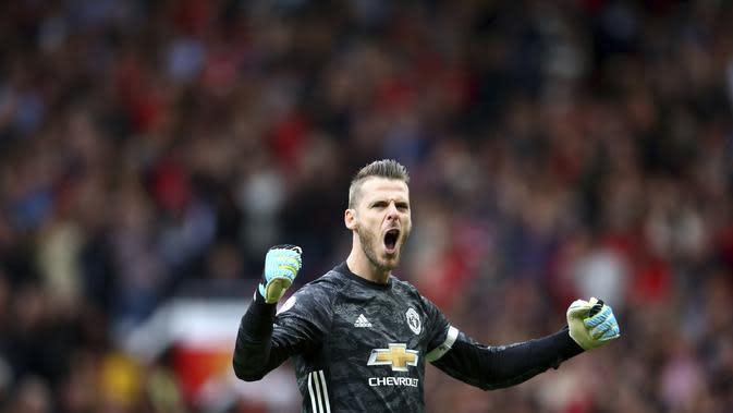David de Gea berteriak girang usai MU menang telak 4-0 atas Chelsea (AP)
