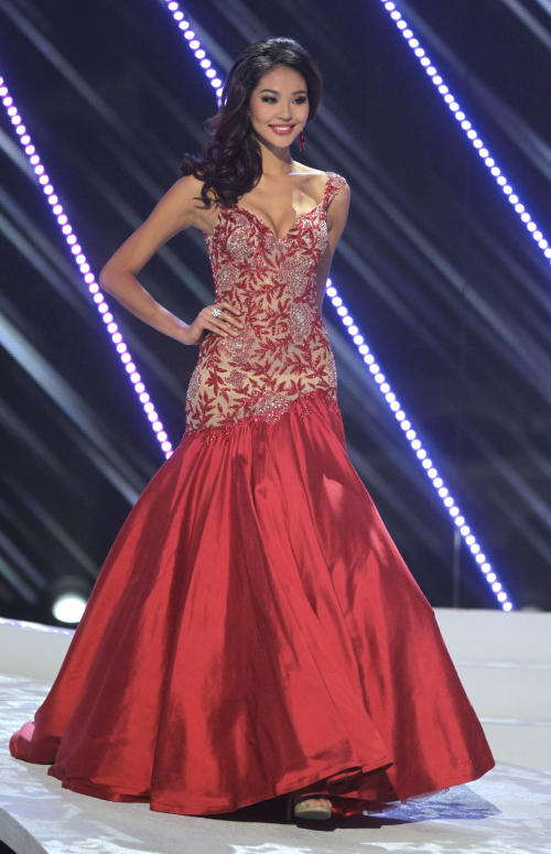 Miss China Luo Zilin wears an evening gown as she competes in the Miss Universe pageant in Sao Paulo, Brazil, Monday, Sept. 12, 2011. Zilin was named fourth runner up. (AP Photo/Andre Penner)