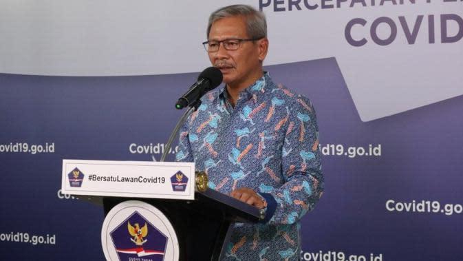 Juru Bicara Pemerintah untuk Penanganan COVID-19 di Indonesia, Achmad Yurianto saat konferensi pers Corona di Graha BNPB, Jakarta, Sabtu (6/6/2020). (Dok Badan Nasional Penanggulangan Bencana/BNPB)