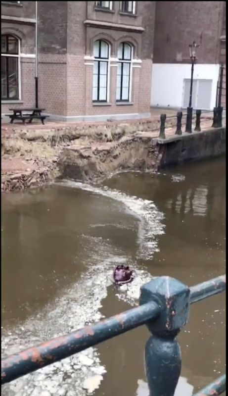 Section of wall on old Amsterdam canal collapses