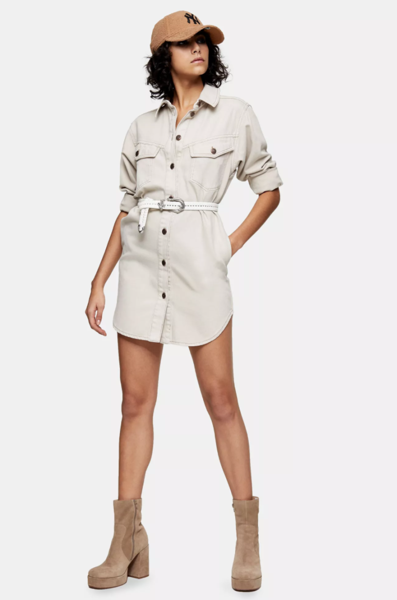 IDOL Grey Denim Sculpted Shirt Dress. Image via Topshop.