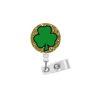 Shamrock ID Badge Reel Glitter Green Shamrock ID Badge Holder