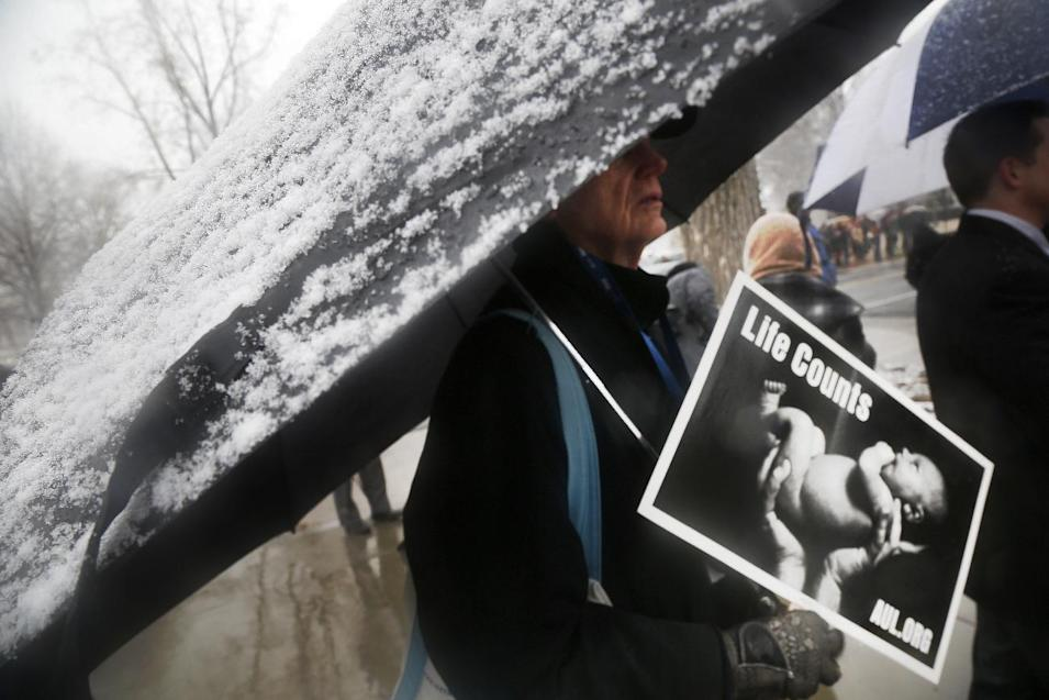 A protester stands as it snows during a demonstration in front of the Supreme Court in Washington, Tuesday, March 25, 2014, as the court heard oral arguments in the challenges of President Barack Obama's health care law requirement that businesses provide their female employees with health insurance that includes access to contraceptives. Supreme Court justices are weighing whether corporations have religious rights that exempt them from part of the new health care law that requires coverage of birth control for employees at no extra charge. (AP Photo/Charles Dharapak)