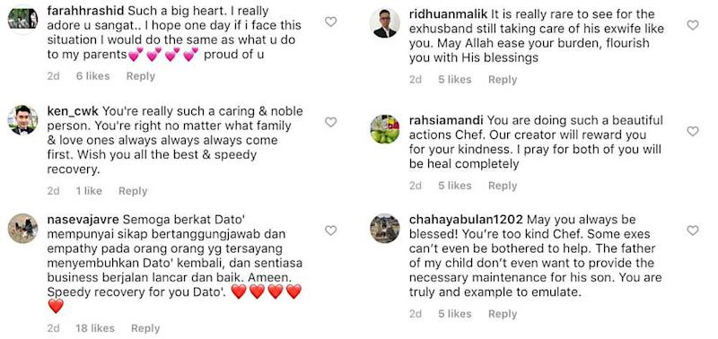 Social media users love how much Chef Wan still cares for his ex-wife. — Screengrab via Instagram/@_chefwan58