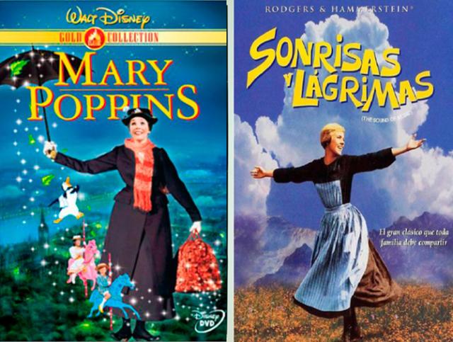 Carteles promocionales de Mary Poppins y Sonrisas y lágrimas