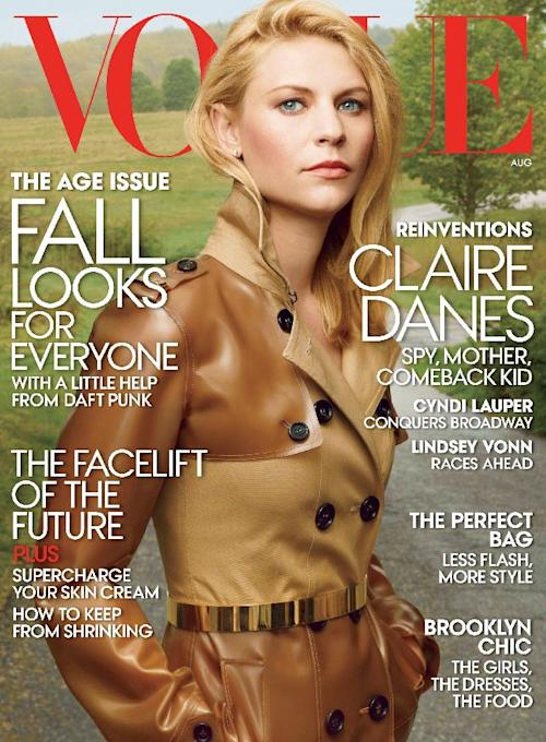"This magazine cover image released by Vogue shows actress Claire Danes on the cover of the August 2013 issue.The ""Homeland"" actress says she considered a change of careers when she went through a stretch where she couldn't find a good role. In an interview for Vogue's August issue, the 34-year-old says she didn't work for two years after starring in the 2010 biopic ""Temple Grandin,"" which earned her an Emmy and Golden Globe. Danes calls it a grim experience that left her so hurt that she flirted with a career change. Says Danes: ""I really like interior design."" (AP Photo/Vogue)"