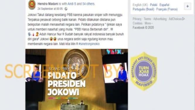 Jokowi Takut ke Sidang PBB karena Ancaman Sniper, Cek Faktanya