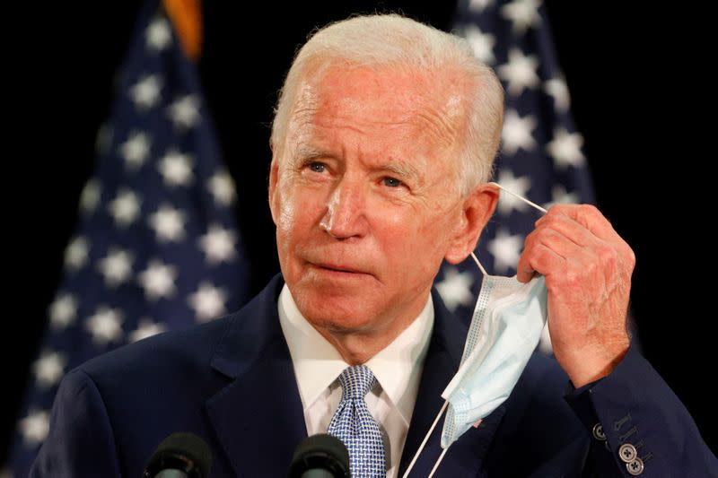 U.S. Democratic presidential candidate Joe Biden speaks during a campaign event in Dover