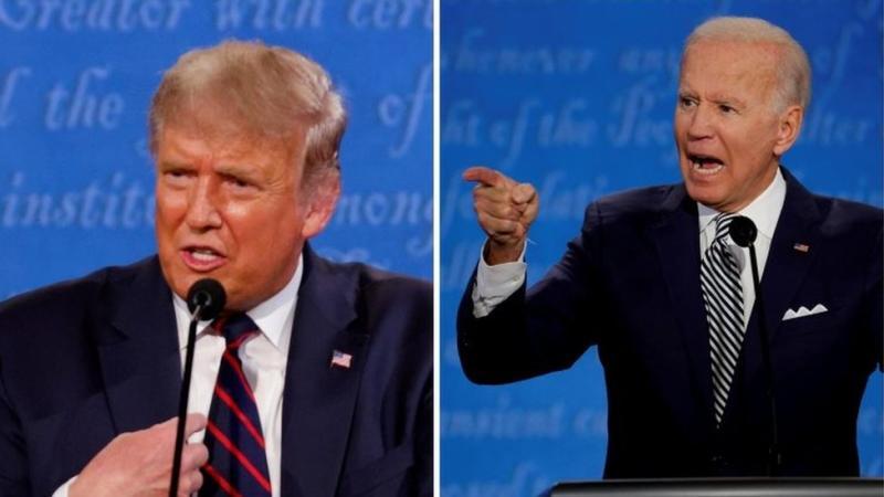 President Donald Trump (kiri) dan pesaingnya Joe Biden