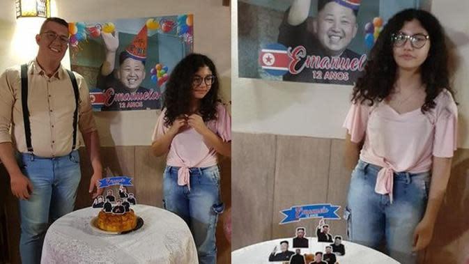 Emanuela, fans berat BTS, dapat kejutan serba Kim Jong Un. (Sumber: Facebook/vitor.desouza.944)