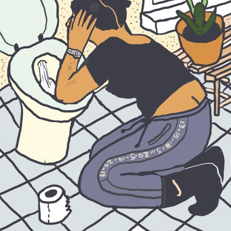 Gambar Monique jatuh sakit di toilet