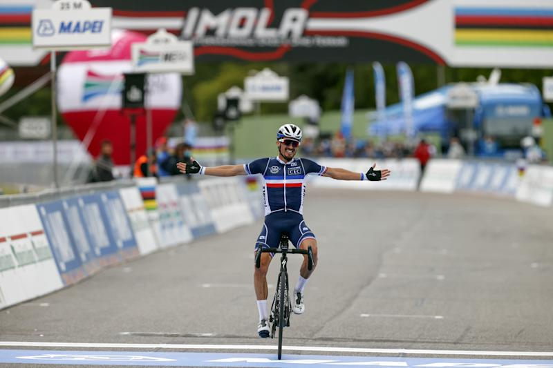 Julian Alaphilippe attacks over the last climb to take a solo win at the World Championships in Imola