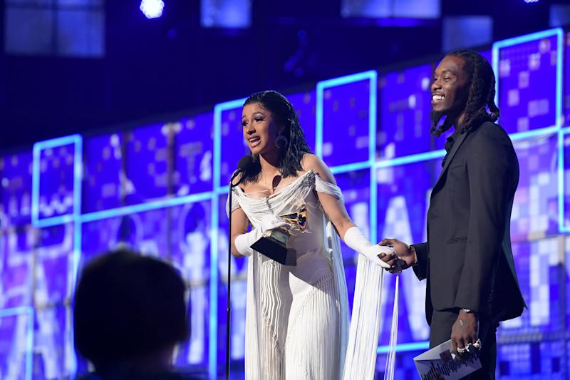 Cardi B accepts the Grammy for Best Rap Album during the 61st Annual Grammy Awards in Los Angeles, on Feb. 10, 2019. | Emma McIntyre—The Recording Academy/Getty Images