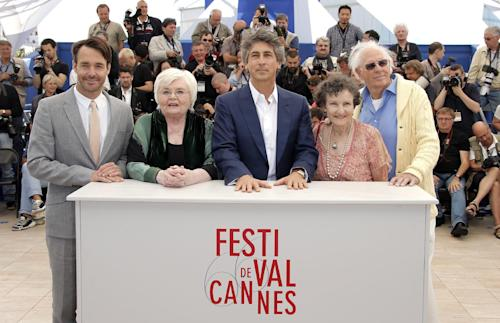 From right, actors Bruce Dern, Angela McEwan, director Alexander Payne, June Squibb and Will Forte pose during a photo call for the film Nebraska at the 66th international film festival, in Cannes, southern France, Thursday, May 23, 2013. (AP Photo/Francois Mori)