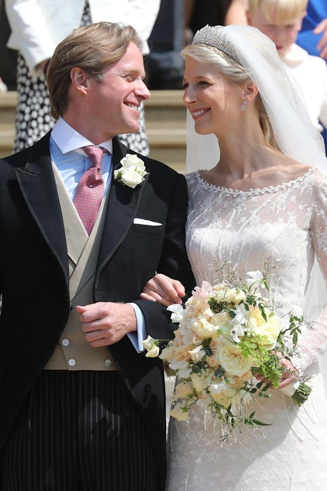"""<p><strong>Wedding date: </strong>May 18, 2019</p><p><strong>Wedding tiara: </strong>Gabriella chose a Russian fringe style diamond tiara, often called the <a href=""""http://www.thecourtjeweller.com/2014/12/the-kent-city-of-london-fringe-tiara.html"""" target=""""_blank"""">Kent City of London Fringe tiara</a>, to complete her wedding day look. <strong></strong></p>"""