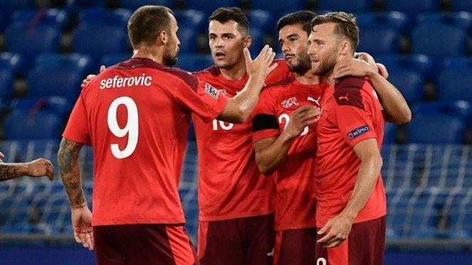 Timnas Swiss saat tampil di UEFA Nations League