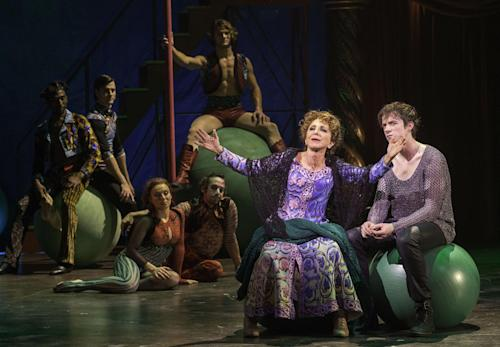 "This undated publicity photo provided by American Repertory Theater shows, Andrea Martin, center, as Berthe and, Matthew James Thomas, right, as Pippin, in a production of ""Pippin,"" at the American Repertory Theater in Cambridge, Mass. (AP Photo/ American Repertory Theater, Michael J. Lutch)"