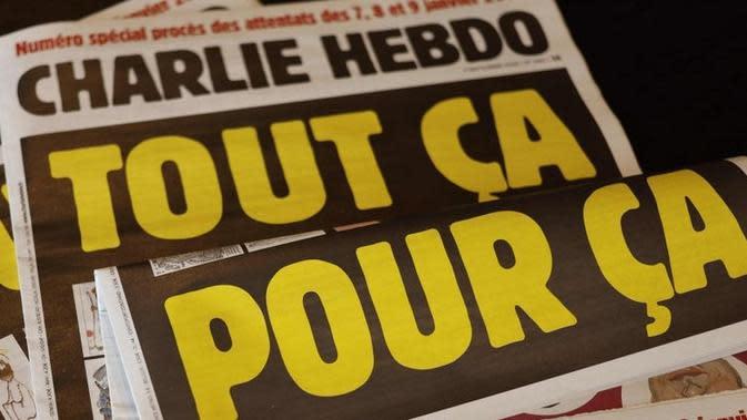 Tabloid Charlie Hebdo di Prancis, edisi yang mempublikasikan ulang kartun Nabi Muhammad pada 2 September 2020 (AFP PHOTO)
