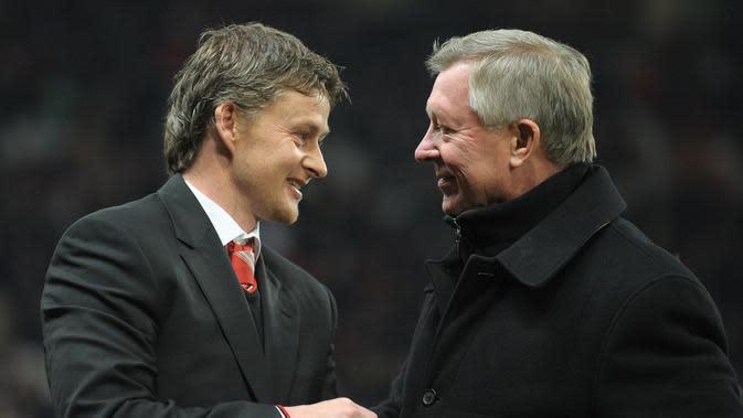 Sir Alex Ferguson selalu mendukung Ole Gunnar Solskjaer sebagai Pelatih Manchester United (MU). (AFP/Andrew Yates).