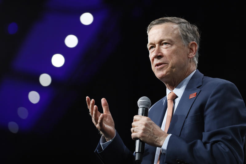 FILE - In this Aug. 10, 2019, file photo, then Democratic presidential candidate former Colorado Gov. John Hickenlooper speaks at the Presidential Gun Sense Forum, in Des Moines, Iowa. Hickenlooper was supposed to be Democrats' worry-free solution to the Colorado Senate race, but he's stumbled badly in the weeks leading up to the party's June 30 primary. (AP Photo/Charlie Neibergall, File)