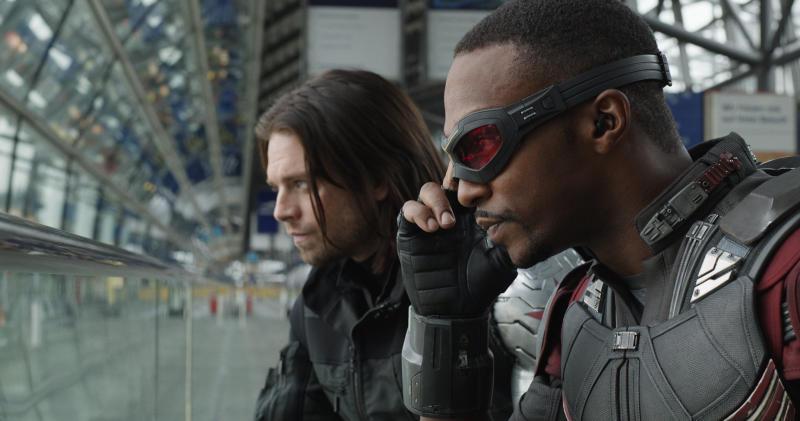 L to R: Winter Soldier/Bucky Barnes (Sebastian Stan) and Sam Wilson/Falcon (Anthony Mackie) in Captain America: Civil War   Film Frame—Marvel Studios.