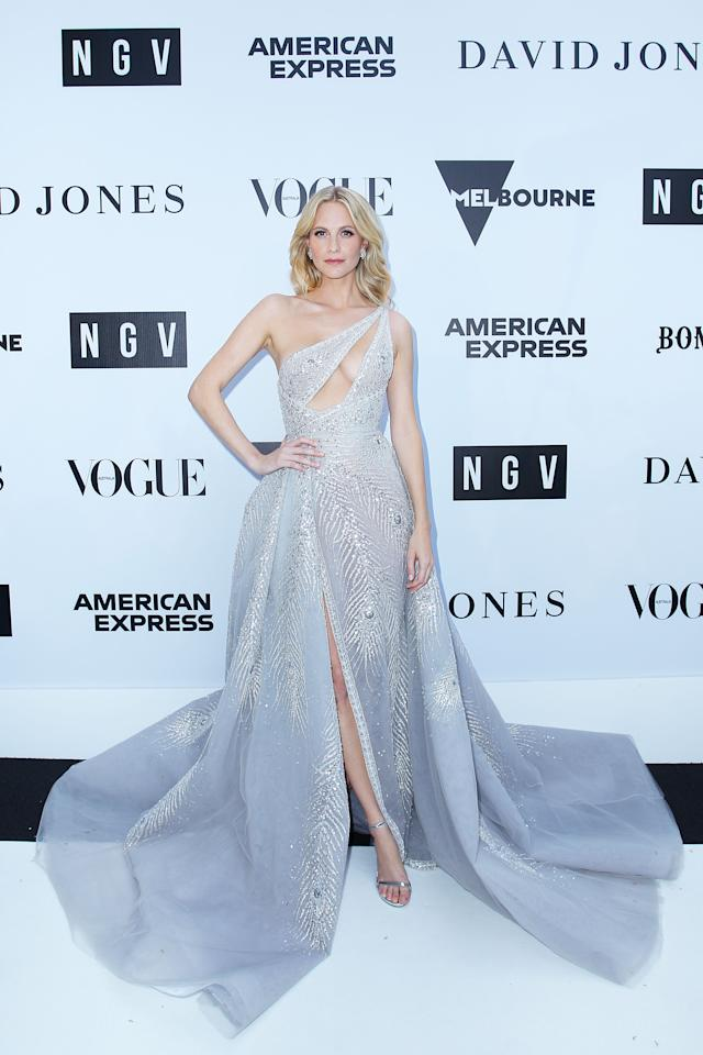 <p>British model Poppy Delevingne led the styles stakes in a bespoke Paolo Sebastian gown which was inspired by the American Express Platinum Card. Photo: Getty </p>