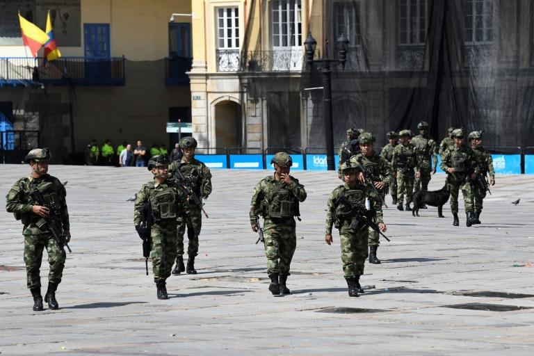Soldiers patrol the streets of Bogota, Colombia on November 23, 2019