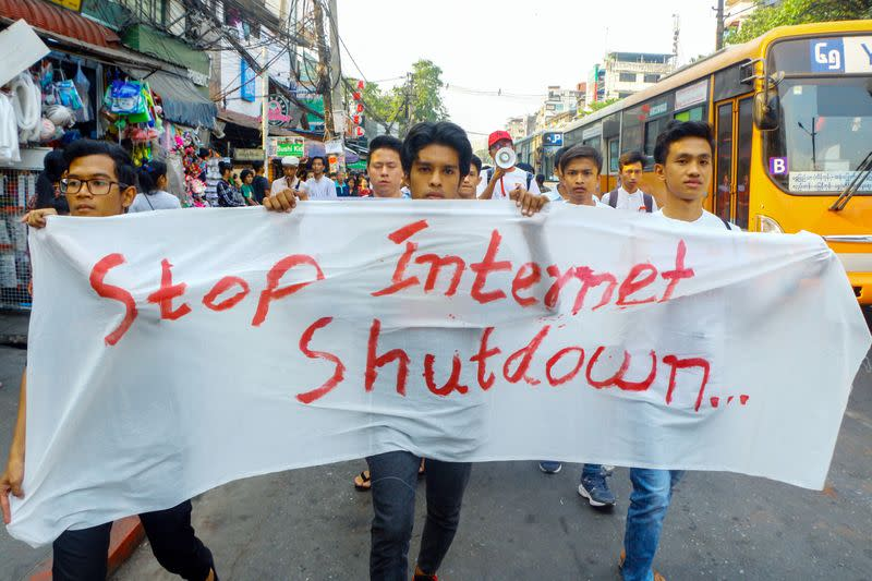 Myanmar students face charges over internet shutdown protest - student union