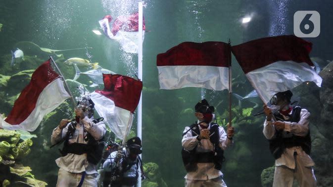 Penyelam mengibarkan bendera Merah Putih saat gladi resik HUT ke-75 RI dalam akuarium Sea World Ancol, Jakarta, Sabtu (15/8/2020). Taman Impian Jaya Ancol akan memperingati HUT ke-75 RI dengan mengibarkan bendera Merah Putih dalam akuarium Sea World pada 17 Agustus 2020. (Liputan6.com/Johan Tallo)