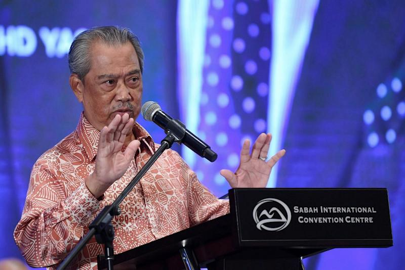 Prime Minister Tan Sri Muhyiddin Yassin delivers his speech at a gathering with Sabah Federal Civil Servants at the Sabah International Convention Centre in Kota Kinabalu August 29, 2020. — Bernama pic
